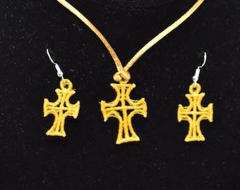 Cross Pendant and Earrings