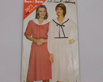 Loose Fitting Dress Sewing Pattern, Butterick 3873, See and Sew, Size B, 14 16 18,  Sailor Collar, Elastic Waistline, Barrel Cuff