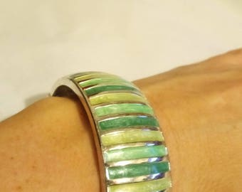 VINTAGE  silver  bracelet with enamelled stripes in shades of green , style 1990