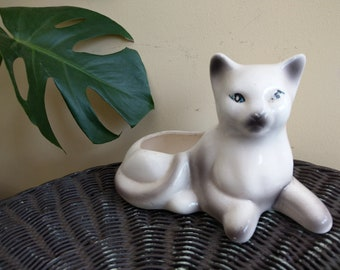 Ceramic siamese kitty cat planter