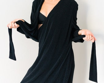 Vintage 80s Virgo Stretchy Black Glitter Fabric Long Sleeve Floor Length Maxi Wrap Dress Fit Best for Small S to Medium M
