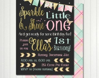Butterfly Invitation, Sparkle Shine, Pink Gold Invitation, Sparkle , Butterfly Birthday, Glitter Invitation, Invitation, Party