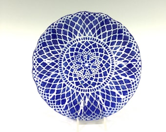 Lace Bowl, Cobalt Blue Dish, Fused Glass, Glass Bowl, Doily, Candy Dish, Cereal Bowl, Blue Plate
