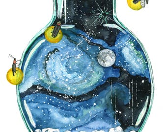 """Galaxy Painting, Watercolor Painting, Night Sky, Bottle, Galaxy, Stars, Moon, Firefly, Watercolor Print, Print titled,""""Bottling the Stars"""""""