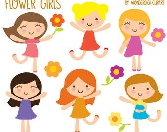 Girls Clipart - Kids Clip art - Flower Girls Illustration- Cute Spring Clipart