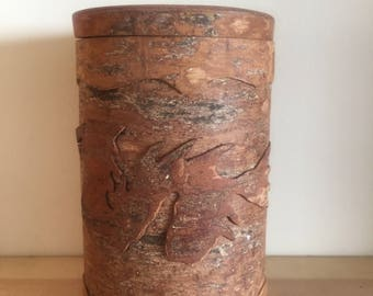 Very Unusual Asian Cinnamon Cassia Bark Pot with Lid With Cinnamon Fragrance Hard Carved with Dragon and Writing