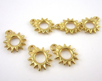 6 Gold Tierracast Radiant Sun Charms