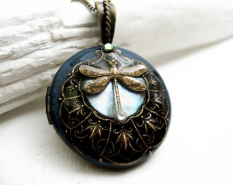 Solid Perfume Locket. Dragonfly Moon Shell, Blue Locket Necklace. Natural Blue Shell Pendant. Solid Perfume Jewelry.