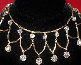 Vintage 60s Dancing Dangling CRYSTAL NECKLACE and Earrings