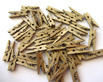 25 Mini Wood Clothespins Gold Mini Clothespin Mini Clothes Pins Wooden Mini Clothespins Small Gold Pegs Christmas Holidays
