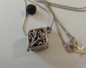 Silver oil diffuser necklace essential aromatherapy, pendant of black lava stone bead