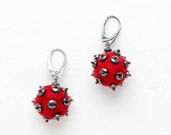 Red earrings - Clothing gift - Unusual Christmas gift idea - Modern statement elegant jewelry with handmade round felt and hematite