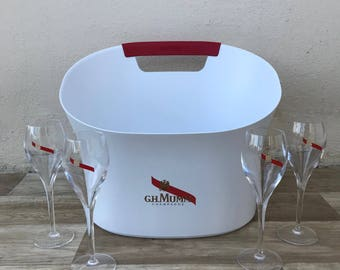 Vintage French Champagne French Ice Bucket Cooler Basin MUMM 4 GLASSES 1902188
