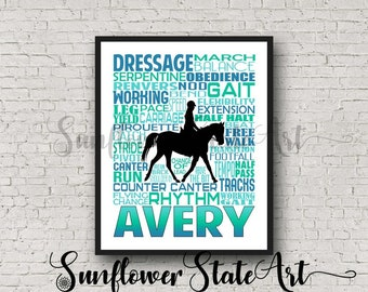 Personalized Dressage Poster, Gift for Equestrians, Gift for Horse Lovers, Horseback Riding, Horseback Rider, Typography, Equestrian Art