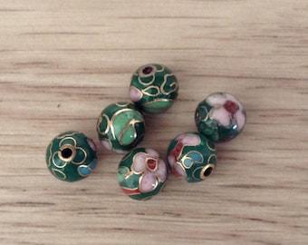 Gold cloisonne round beads flower decor handmade 6 x