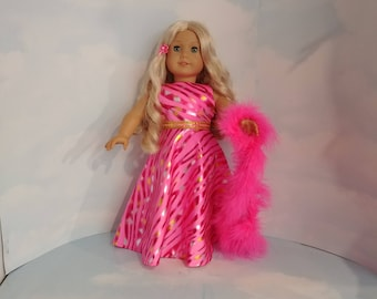 Bright Pink Zebra Gown 18 inch doll clothes - #243
