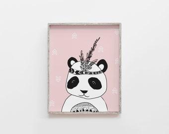 Panda print, Panda Nursery Wall Art Printable, Animal Nursery Print, Panda Bear Kids Art, Print, Black Nursery Decor, Kids Print, パンダポスター
