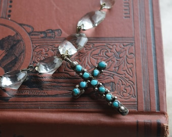 Antique OOAK Pools of Light Turquoise Coral Cross Necklace, Assemblage Necklace with Cross Pendant, Jewelry gift for her