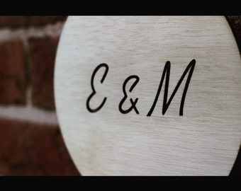Wooden Initials Plaque. For Weddings, Engagements, Housewarmings and Loves. Home Accessory, Decor and Gift Ideas.