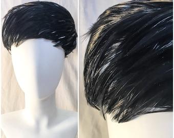 Vintage Feather Black Feather Pilbox Hat // Feather Pillbox Hat // Mid Century 1960s 60s Black Feather Hat