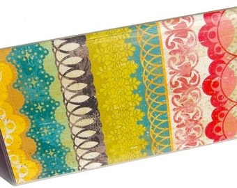Checkbook Cover - Bohemian Lace. Vinyl Checkbook Cover. Checkbook Holder. Wallet. Boho Chic. Vibrant. Colorful. Gift for Her. Gift Idea