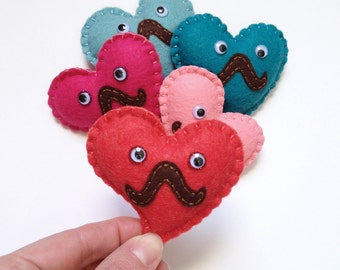 Plush Heart Love plushie, cute plushie heart, ''Mr. HeartStache'', mini felt plush heart mustache & googly eyes, hand sewn by HibouDesigns