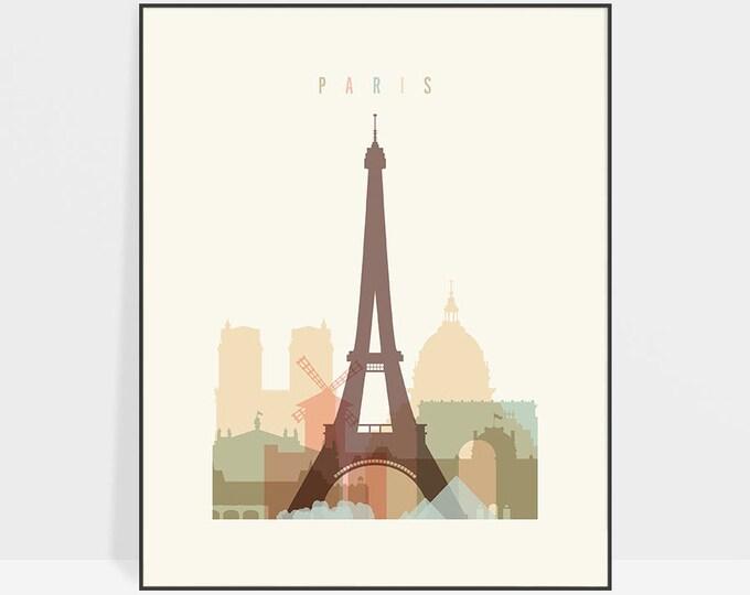 Paris print, Poster, Wall art, France cityscape, Paris skyline, City poster, Typography art, Gift, Home Decor Digital Print ArtPrintsVicky