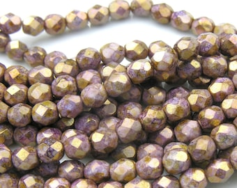 Opaque Gold and Smokey Topaz 6mm Fire Polish Faceted Round Beads   25