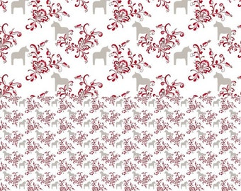 Curtain panel white beige brown red Swedish Dala Horses Flowers Scandinavian Decor Cafe curtain Kitchen valance , table linen , great GIFT