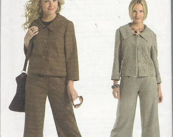 Uncut Sewing Pattern - Fast & Easy Butterick - Misses PETITE JACKET and PANTS - Gaucho Style -  Mid-Calf Length Pants - Size - 8 10 12 14
