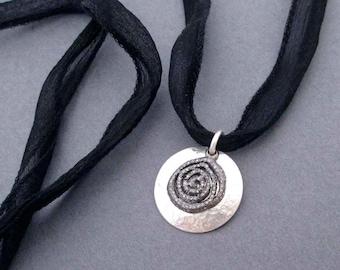 Genuine Diamond Pave Pendant Necklace on Black Silk Ribbon Sterling Silver Greek Goddess Jewelry, Diamond Encrusted Spiral April Birthstone