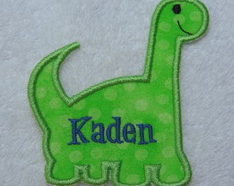 Personalized Dinosaur Fabric Embroidered Iron On Applique Patch MADE TO ORDER