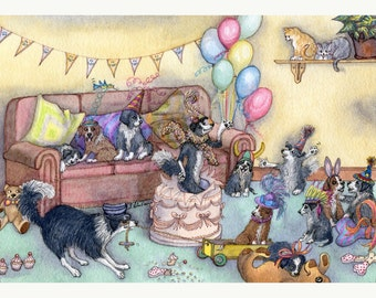 Border Collie dog 8x10 print - It's party time
