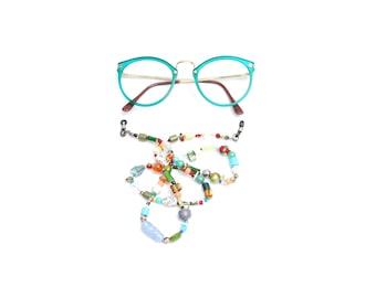 RandomJane short glasses chain colorful beaded hippie boho random style summer fashion accessory for kids, eye sun glasses made in Vienna