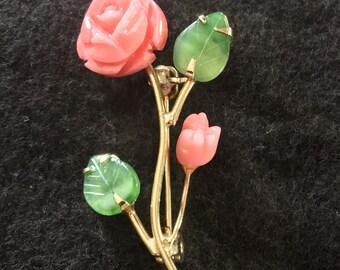 Coral & Jade Pin