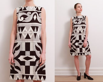 60s Abstract Print Shift Dress / S
