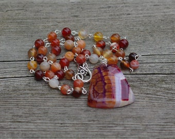 Carnelian and Dragon Vein Agate Necklace ~ Agate Pendant ~ Hand Wired Carnelian Beads ~ Sunset Colours ~ One of a Kind Jewellery ~ OOAK