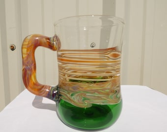 Blown Green Glass Mug for Dad