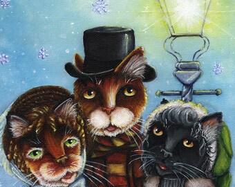 Victorian Cat Carolers Christmas 5x7 Fine Art Print CLEARANCE
