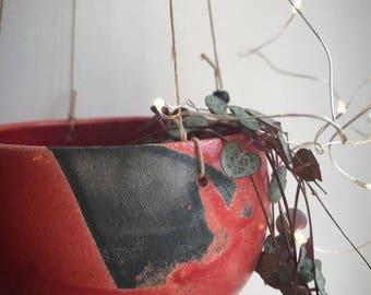 Red raku flower pendant