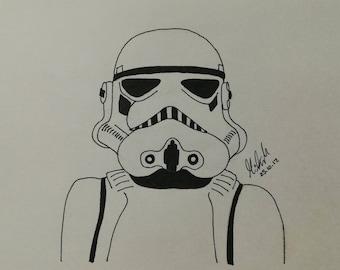 Star Wars Stormtrooper Ink Drawing