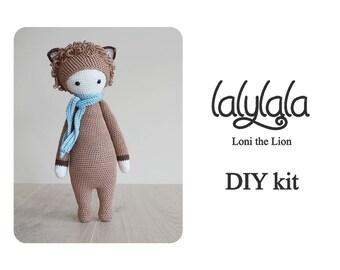 DIY Crochet Kit - Lalylala Loni the Lion - Lalylala pattern - DIY Craft - Christmas gift - Gift for mom