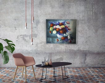 Big painting vase with flowers