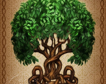 Celtic Tree of Life  -  Pagan Wiccan Print - Brigid Ashwood
