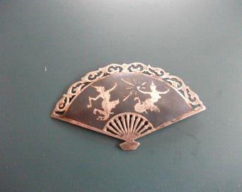Vintage Siam Niello Amfarco Sterling Silver 925 Fan Brooch Pin