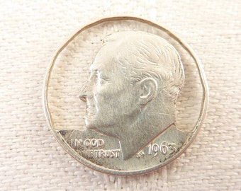 Vintage .900 Silver Cutout Dime Crafting Piece