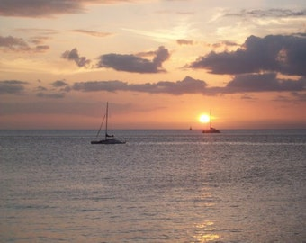 Sunsetting Over Lahaina - Hawaii Color Photo - Fine Art Photography - Lahaina Hawaii Photo - Boat Photography Print