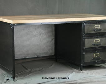 Industrial Desk With Drawers Modern Industrial Table Steel