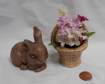 Bunny with glazed basket of flowers-glazed and painted ceramic bisque