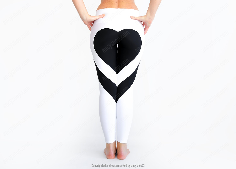 Herz Leggings weiße Yoga Hose Herz-Form weiße Leggings